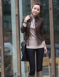 Women's Retro Stand Collar Stitching Leather Slim Blazer Jacket
