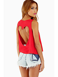 Women's Round Neck Backless Sleeveless Blouse