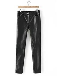 das mulheres o skinny stretch magro pu calças de couro