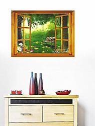 Createforlife ® Window View Green Forest Crianças Nursery quarto adesivos de parede arte da parede decalques