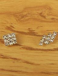Men's Rhinestone Square Magnet Cilp Earrings