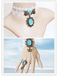 Ocean Princess with Blue Artificial Stone Classic Lolita Accessories Set(Bracelet/Necklace)