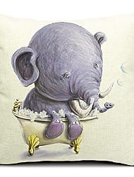Elefante dos desenhos animados do bebê do algodão / linho fronha decorativo