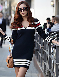 BALI Fashion Contrast Color Stripes Long Sleeve V Neck Silm Dress