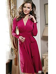 Sexy V-Ausschnitt - Langarm - FRAUEN - Kleider (Baumwolle)