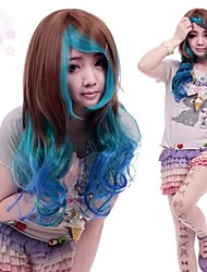 Zipper Ocean Princess Brown And Blue Curly Long Punk Lolita Wig