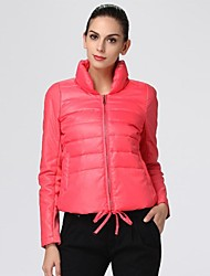 Oxygene Monde® Women's PU & Rib Long Sleeve Adjustable Hem Quilted Down Jacket