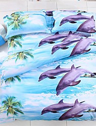 Mankani 3D High Definition Stereoscopic Dolphin Print  Four-Piece