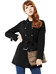 elegante doppio pulsante cappotto delle donne zyqy (nero)