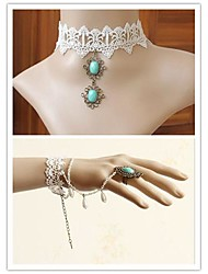 Elegant Fairy Green Artificial Stone Classic Lolita Accessories Set(Bracelet/Necklace)