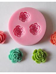 три цветка выпечки помадка торт шоколадные конфеты плесень, l5.9cm * w5.9cm * h1.1cm
