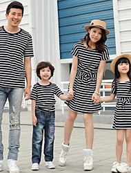 Family's Fashion Joker Leisure Parent Child Short Sleeves Stripe Navy Wind T Shirt And Dress