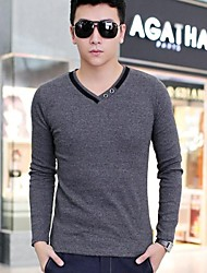 XinYuanGe® Men's V-Neck Casual Long Sleeve Cotton Pure Color Tops T-shirts