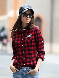 Veri Gude® Women's Button-Down Collar Slim Fit Plaid Autumn Shirt