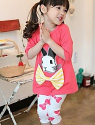 Girl's Round Collar Rabbit Print And Bow Decor Long Sleeve Clothing Sets(T-shirt&Leggings)