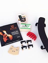 4 quartos ombro plástico no violino + + quatro fine-tuning + cordas mudas + resina + afinador + jean código