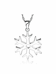Women's Snowflake Pendant Silver Necklace Platinum Plated Silver Pendant Necklace