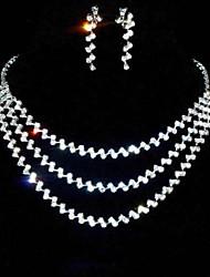Schmuck-Set Damen Hochzeit / Party Schmuck-Set Legierung / Strass Strass Halsketten / Ohrringe Silber