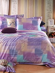 Shuian® Duvet Cover Set,4 Piece Suit Comfort Simple Modern Super Soft Beds with Tencel and Flower Pattern