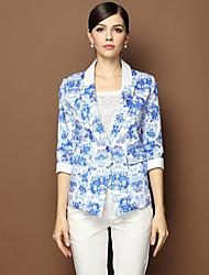 Women's Printing Half Sleeve Cotton Suits Coat