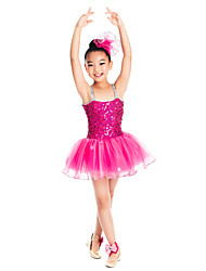 Kids' Dancewear Dresses Children's Training Spandex Ruffles / Sequins Purple / Melon Ballet / Ballroom / PerformanceSpring, Fall, Winter,