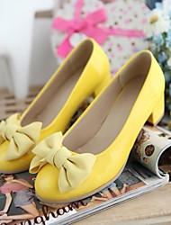 scarpe da donna punta rotonda pompe tacco grosso con scarpe bowknot più colori disponibili