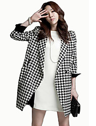 Plaid Pattern Fashion Fitted Coat_20