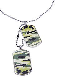 punk do crânio e chifre de boi (duas placas de camuflagem) colar de prata pingente de liga (1 pc)