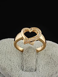 Women's Fashion Heart Design 18K Gold Zircon Wedding Ring