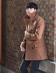 Men's Solid Casual Coat,Tweed Long Sleeve-Brown