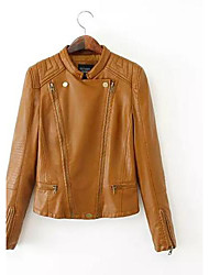 Women'S Dual Zipper Leather Shoulder Pads Long Sleeve Jacket