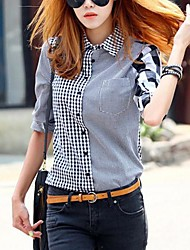 Women's Fall Blouse / Shirt,Striped / Plaid Shirt Collar Long Sleeve Multi-color Thin