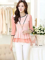 Women's Lace Beige/Pink/White Blouse , Round Neck ¾ Sleeve