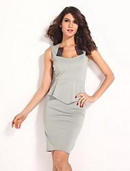 Women's Solid Gray Dress , Bodycon/Work Asymmetrical Sleeveless Ruffle