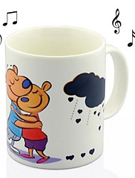 Cartoon US Doggy Music Box Color Change Mug Heat Sensitive Water Cup Ceramic(3.2x3.2x3.8 inch)