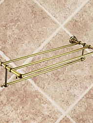 Antique Ti-PVD Finish Brass Material Bathroom Shelves