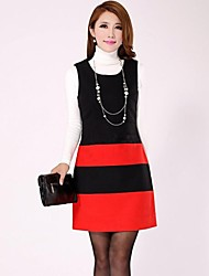 Women's Casual / Cute / Plus Sizes Color Block Sheath Dress , U Neck Above Knee Polyester