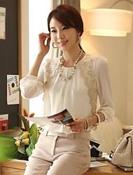 chaoliu outono coreano das mulheres do estilo do laço combinando camisa de mangas compridas chiffon