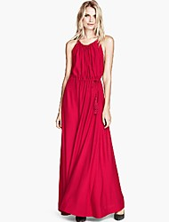 Women's V Neck Drawstring Stripless Maxi Dress