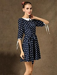Women's Contrast Color Vintage Polka Dots Fitted Swing Dress