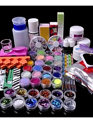 63PCS Acrylic Powder Brush Glitter Clipper File Nail Set