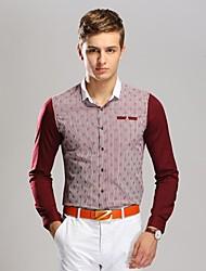 Men's Rudder Printing  Business Long Sleeved Shirt