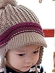 Baby Double Hanging Ball Trim Wool Ear Cap