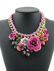 Dawi westlichen Stil Metall Edelstein Blume Kragen Halskette