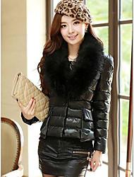 Women's Slim Type Down Cotton Short Big Fur Coat Jacket Outerwear