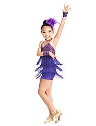 Dancewear Kids' Tassels Colorful Sequined Spandex Latin Dance Top & Bottom Outfits More Colors