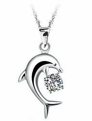 Women's Silver Crystal Pendant Necklace Fashion Classic Silver Dolphin Necklace