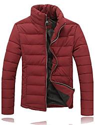 Men's Regular Parka Coat , Others Long Sleeve