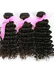 16inch 1Pcs/Set Great 6A Natural Black 100% Brazilian Virgin Human Hair Deep Curly Hair Weave