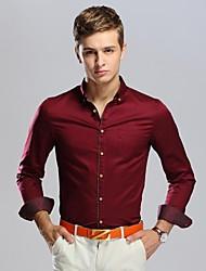 Men's Printing Slim Business Long Sleeved Shirt